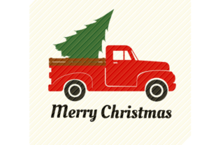 Print on Demand: Red Vintage Truck with Christmas Tree Graphic Crafts By SVGPlaceDesign