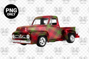 Print on Demand: Red and Green Plaid Vintage Truck Graphic Print Templates By CraftsCreateShop