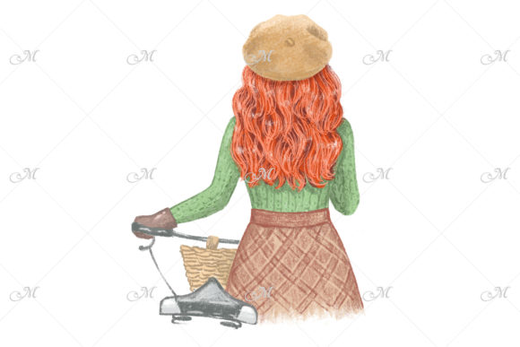 Red-haired Girl with a Bicycle in Fall Graphic Illustrations By MaddyZ