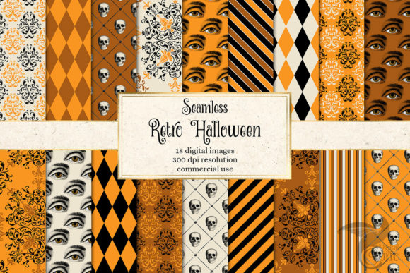 Print on Demand: Retro Halloween Digital Paper Graphic Backgrounds By Digital Curio