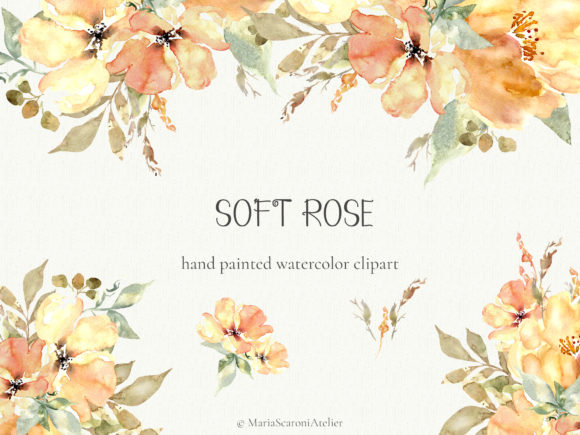 Print on Demand: Soft Rose - Watercolor Flowers Clipart Graphic Illustrations By MariaScaroniAtelier