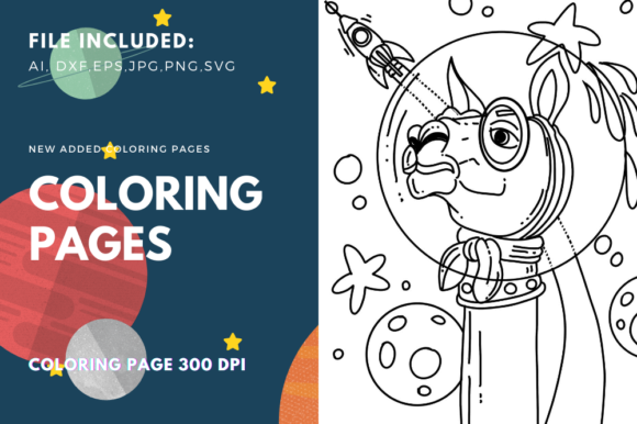 Print on Demand: Space Llama Coloring Page for KDP Graphic Coloring Pages & Books Kids By stanosh