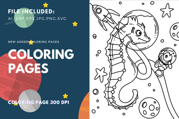 Print on Demand: Space Sea Horse Coloring Page Graphic Coloring Pages & Books Kids By stanosh