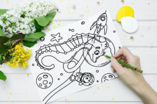 Print on Demand: Space Sea Horse Coloring Page Graphic Coloring Pages & Books Kids By stanosh 2