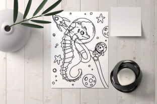 Print on Demand: Space Sea Horse Coloring Page Graphic Coloring Pages & Books Kids By stanosh 3