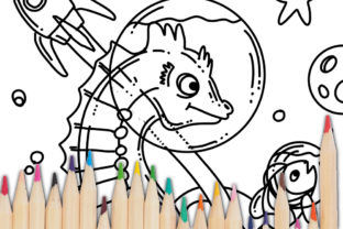 Print on Demand: Space Sea Horse Coloring Page Graphic Coloring Pages & Books Kids By stanosh 4