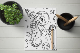 Print on Demand: Space Sea Horse Coloring Page Graphic Coloring Pages & Books Kids By stanosh 5