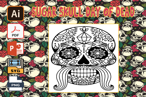 Print on Demand: Sugar Skull Day of the Dead Coloring Graphic Coloring Pages & Books Adults By Tatus Brinal