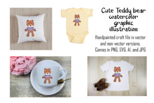 Print on Demand: Teddy Bear Watercolor Illustration Graphic Objects By A Design in Time