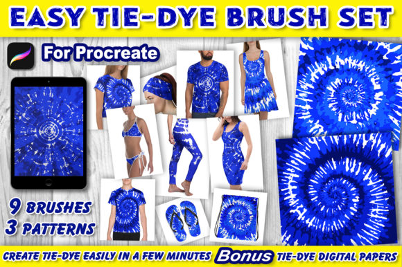 Print on Demand: Tie-Dye Patterns Brushes for Procreate Graphic Brushes By V-Design Creator