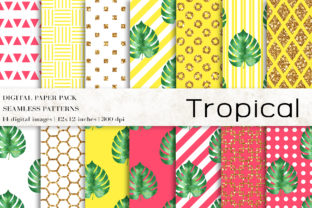 Tropical Digital Papers Graphic Patterns By BonaDesigns