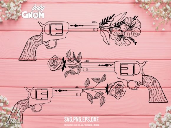 Vintage Revolver with Flower Graphic Crafts By babyGnom