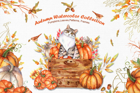 Print on Demand: Watercolor Autumn Cat Collection Graphic Illustrations By tanatadesign