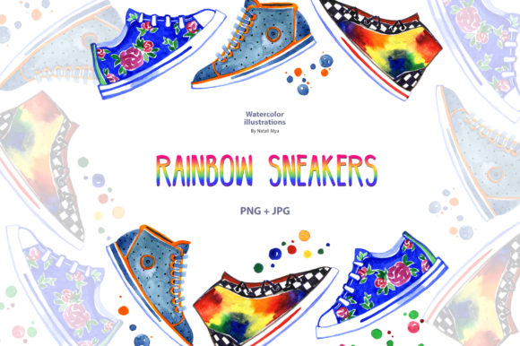 Watercolor Rainbow Sneakers Graphic Illustrations By NataliMyaStore