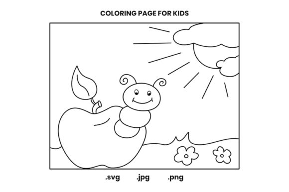 Print on Demand: Apples and Caterpillars Coloring Pages Graphic Coloring Pages & Books Kids By doridodesign