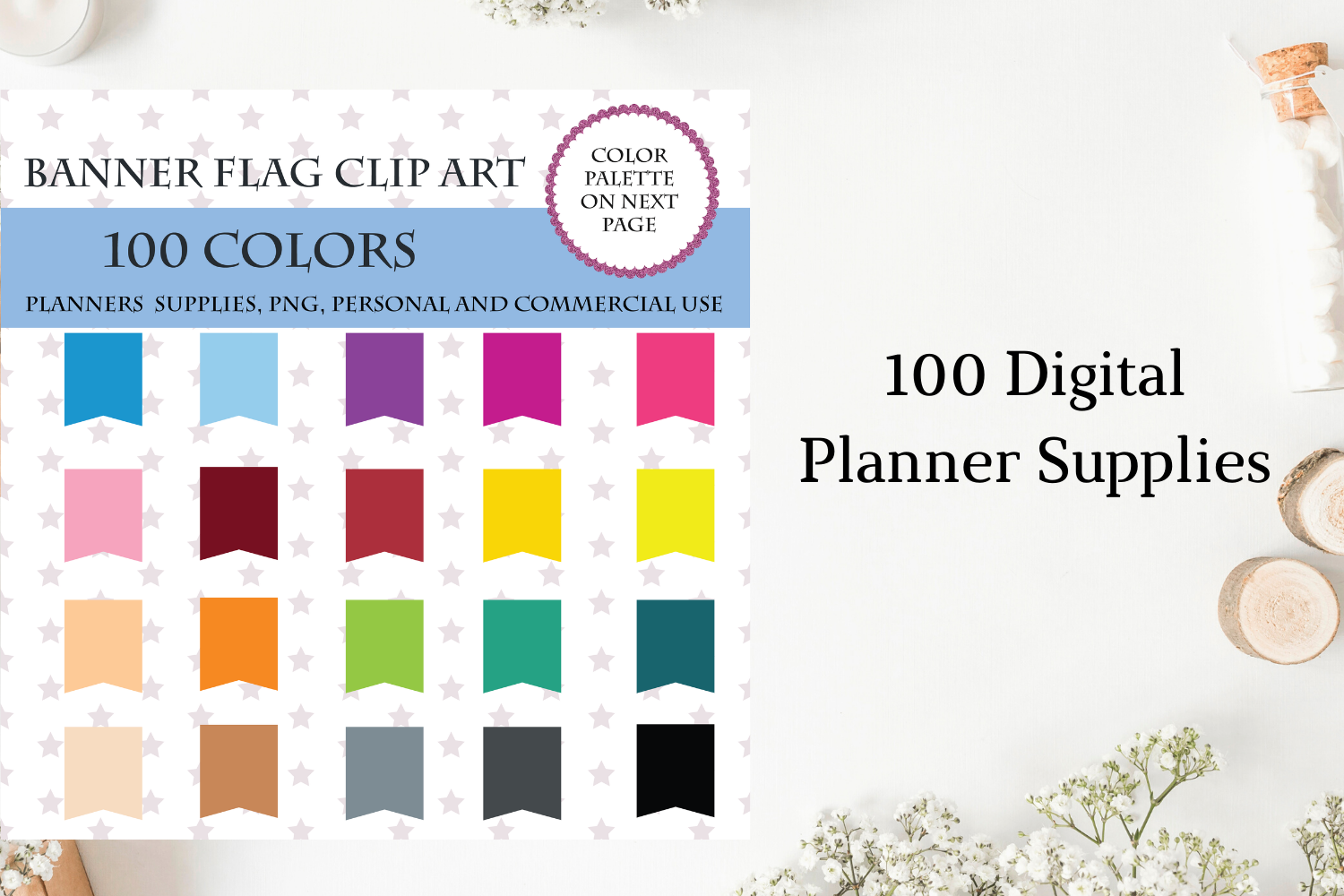 100 Banners Flag Clipart Scrapbooking Graphic By Aneta Design Creative Fabrica