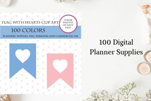 100 Banners Flag with Heart Cliparts Graphic Objects By Aneta Design