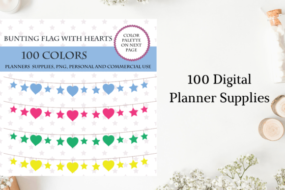 100 Bunting Flags Clipart, Banner Art Graphic Objects By Aneta Design