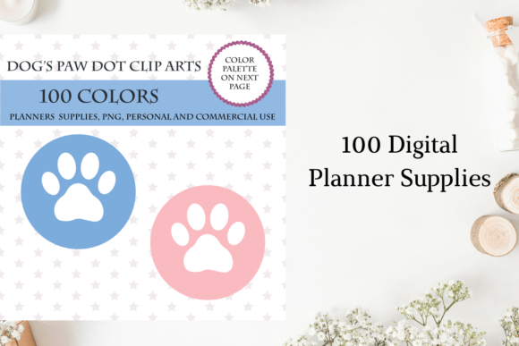 100 Dog's Paw Dot Clipart, Vet Planner Graphic Objects By Aneta Design
