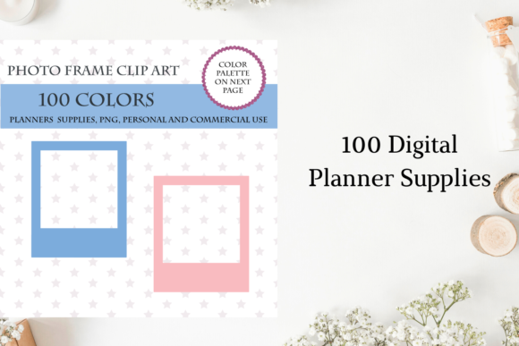 100 Photo Frame Clipart,  Vintage Photo Graphic Objects By Aneta Design