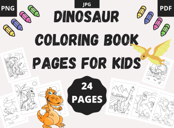 24 Dinosaur Coloring Book Pages for Kids Graphic Coloring Pages & Books Kids By moufianed