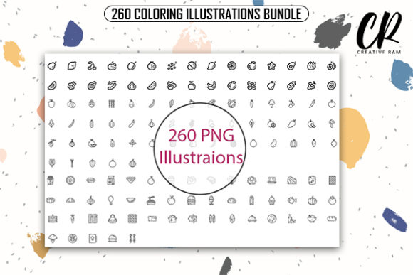 260 Coloring Illustrations Bundle Graphic Coloring Pages & Books Kids By Creative Ram