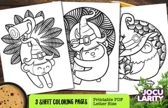3 Animals Halloween Coloring Pages Graphic Coloring Pages & Books Kids By JocularityArt