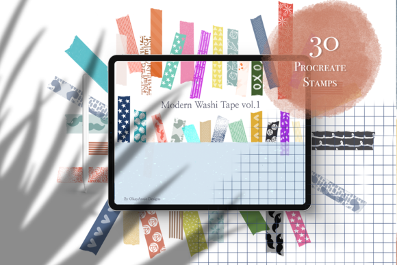 30 Modern Washi Tape Vol.1 for Procreate Graphic Brushes By OkayAnnie Designs