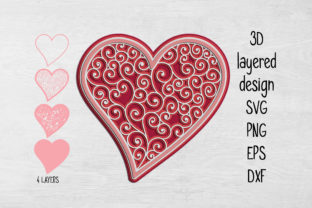 Print on Demand: 3D Layered Heart  Graphic 3D SVG By Eva Barabasne Olasz