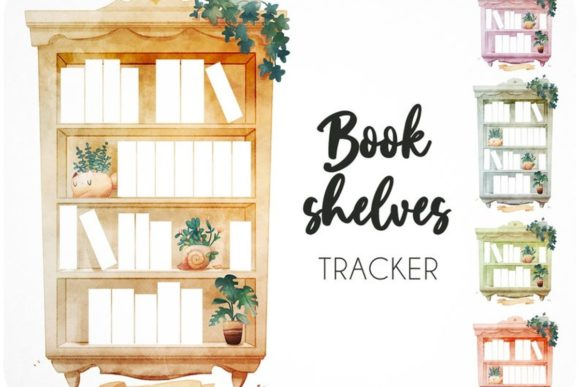 45 Bookshelf Watercolor Reading Tracker Graphic Icons By Alphabelli