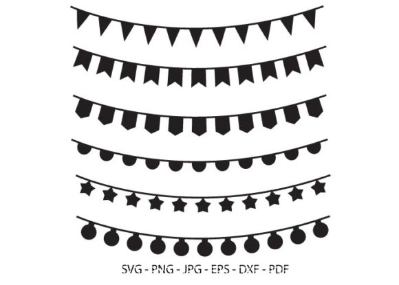 6 Bunting Banner Vector Clipart Pack Graphic Illustrations By RedCreations