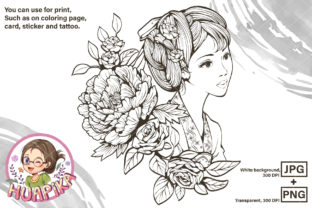 Print on Demand: Ancient Chinese Girl and Flowers Graphic Coloring Pages & Books Adults By huapika 1