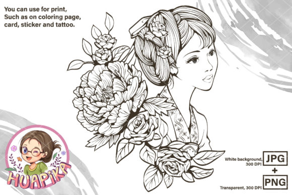 Ancient Chinese Girl and Flowers Graphic Coloring Pages & Books Adults By huapika