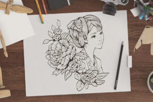 Print on Demand: Ancient Chinese Girl and Flowers Graphic Coloring Pages & Books Adults By huapika 2