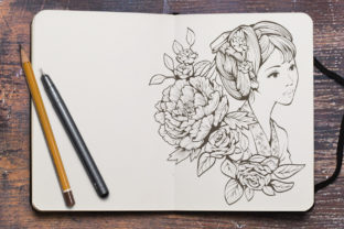 Print on Demand: Ancient Chinese Girl and Flowers Graphic Coloring Pages & Books Adults By huapika 3