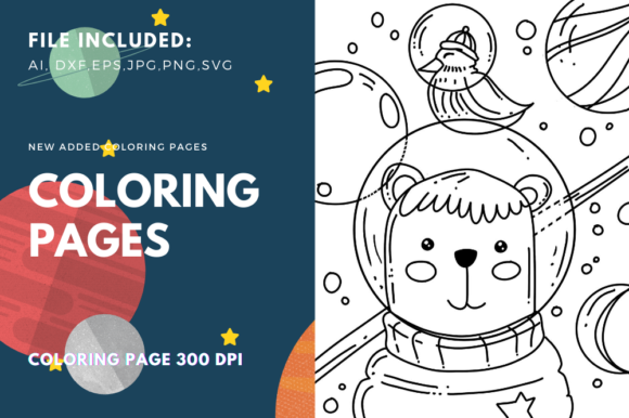Print on Demand: Astronauts Bear Coloring Page Graphic Coloring Pages & Books Kids By stanosh