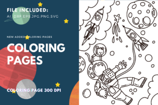 Print on Demand: Astronauts Children Coloring Page Graphic Coloring Pages & Books Kids By stanosh