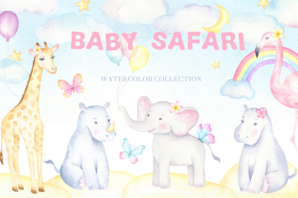 Baby Safari Watercolor Collection Gráfico Illustrations Por kristinazukova430