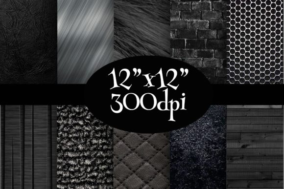 Print on Demand: Black Textures Digital Paper Pack Graphic Backgrounds By Party Pixelz