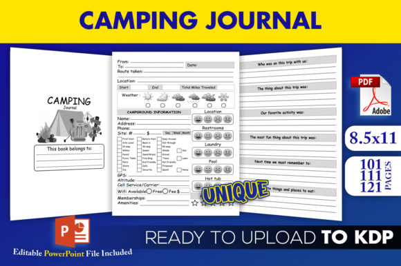 Print on Demand: Camping Journal | KDP Interior Template Graphic KDP Interiors By Beast Designer