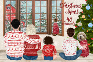 Print on Demand: Christmas Family Clipart Mug Designs Grafik Illustrationen von LeCoqDesign