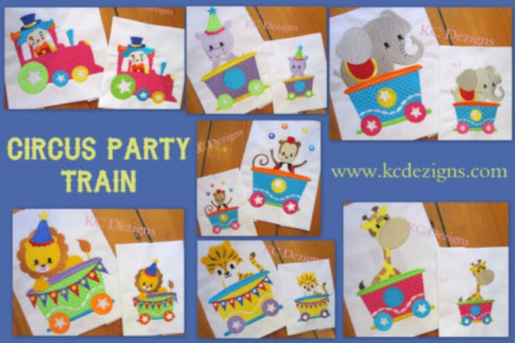 Circus Party Train Full Set Circus & Clowns Embroidery Design By karen50 - Image 1