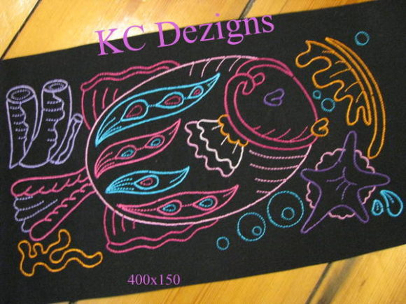 Colourline Fish 05 Fish & Shells Embroidery Design By karen50