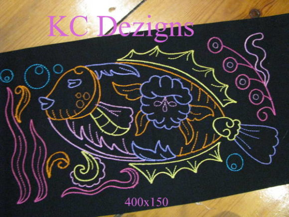 Colourline Fish 10 Fish & Shells Embroidery Design By karen50