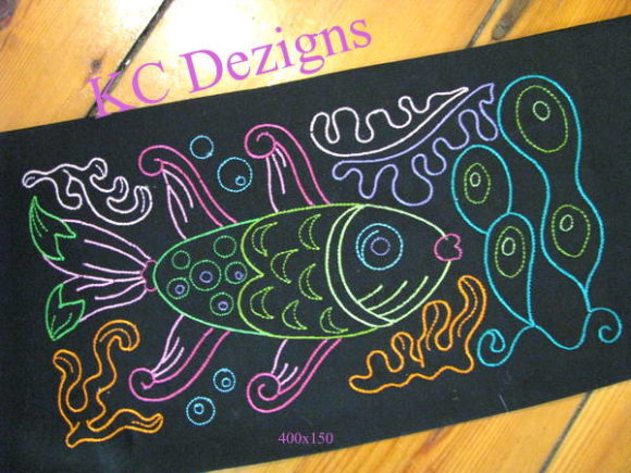 Colourline Fish Fish & Shells Embroidery Design By karen50