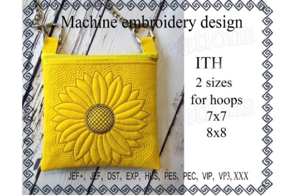 Cosmetic Bag in the Hoop - Sun Flower Sewing & Crafts Embroidery Design By ImilovaCreations