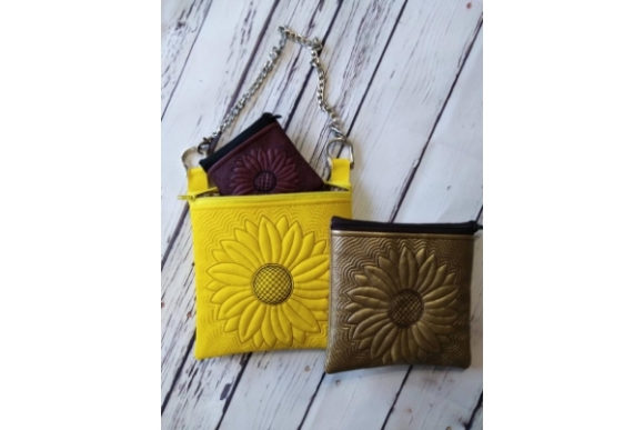 Cosmetic Bag in the Hoop - Sun Flower Embroidery Preview