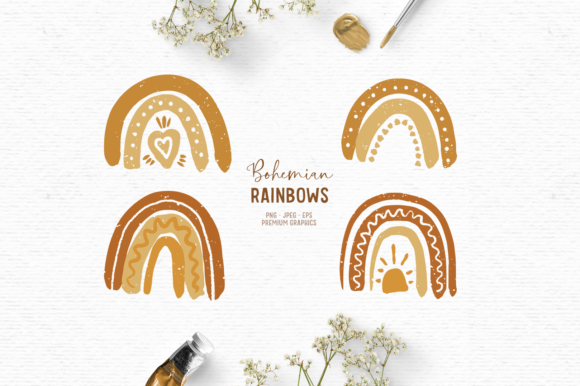 Print on Demand: Cute Boho Rainbow Clipart | Boho Clipart Graphic Illustrations By Wallifyer