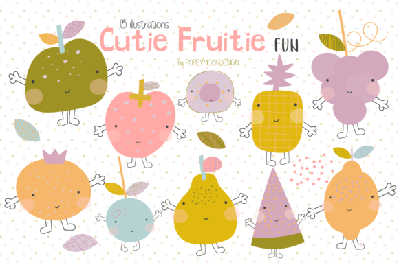 Print on Demand: Cutie Fruitie Fun Clipart Graphic Illustrations By poppymoondesign