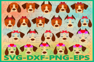Print on Demand: Dogs Face, Animals with a Bow Graphic Illustrations By AlexSVGStudio